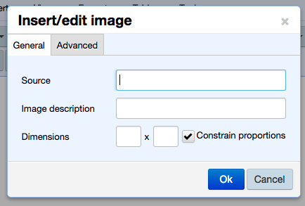upload and edit image modal General tab with options for uploading a new image, adding an image description, and resizing